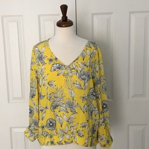 ANDEAWY V-neck Long Sleeve Yellow Women's Blouse